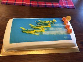 Tårta som serverades i Linköping på Saab Safir 70-årsdag den 20 november 2015.