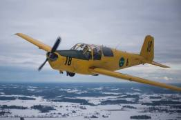 SE-KVU under hemflygning till Skövde februari 2018. Foto: Adrians kompis Anders.